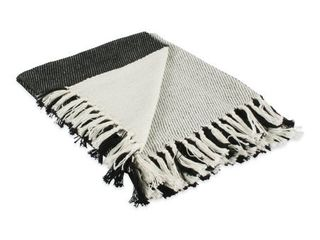 Four Square Woven Throw Black  1 Piece