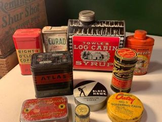 lot of 10 Antique Advertising Tins location Bar