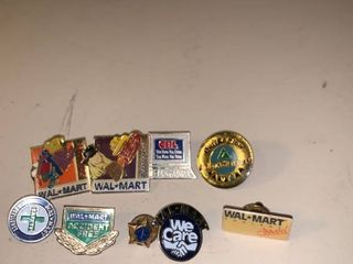 lot of 9 Walmart Employee Pins location Garage Container