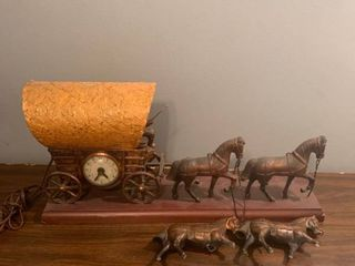 Vintage Horse and Wagon Clock Needs Repairs location Spare