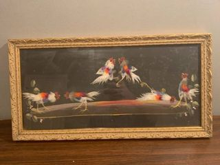 Vintage Cock Fighting Art Real Feathers location Spare