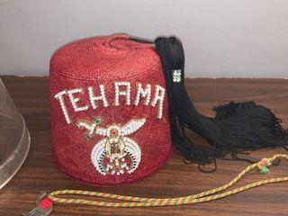 Vintage Shriners Fez Tehama With Hard Plastic Case location Spare