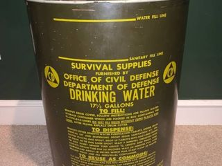 Department of Defense Survival Supplies Drinking Water Drum location Basement