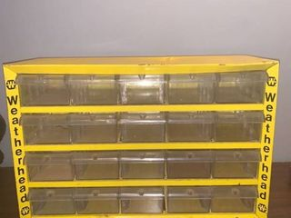 Vintage Weatherhead Metal Small Parts Organizer With 20 Plastic Drawers location Spare