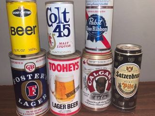 lot of 7 Empty Vintage Beer Cans location Spare