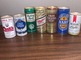lot of 7 Vintage Empty Beer Cans location Spare