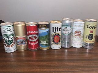 lot of 8 Empty Vintage Beer Cans location Spare