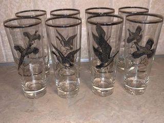 Set of 8 Vintage Game Bird Glasses location Bar