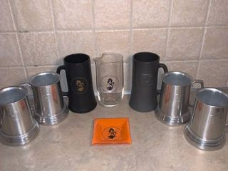 lot of 7 Vintage Playboy Club Steins and 1 Ashtray location Bar