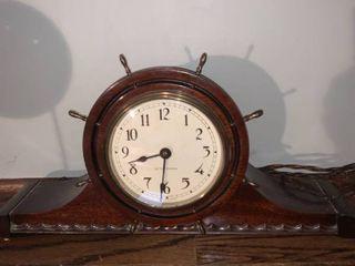 Antique Seth Thomas Ships Wheel Mantel Clock Needs New Cord