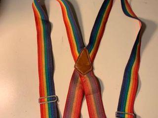 Vintage Adjustable Rainbow Suspenders 1C
