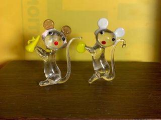 Pair of Hand Blown Glass Mice 2E