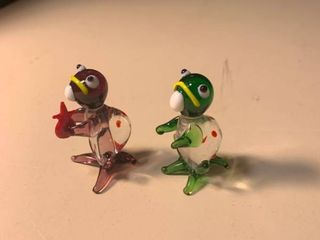 Pair of Hand Blown Glass Turtles 2E