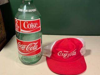 Vintage Glass 2 liter Coke Bottle and Coca Cola Hat 2C