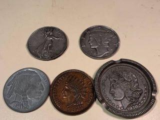lot of 4 Coin Coasters 1 Ashtray 1C