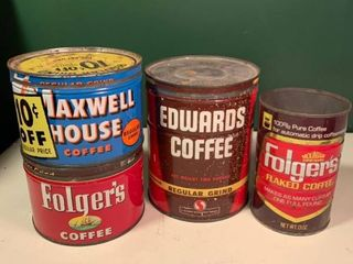 lot of 4 Antique Coffee Cans 2C
