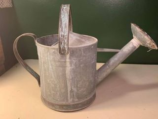 Vintage Galvanized and Brass Watering Can 2A