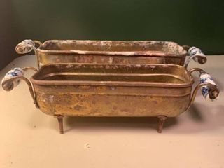 Pair of Brass Planters With Porcelain Handles 2B