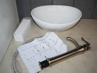 "Bathroom Sink and Faucet - Sink is 16"" x 13"" x 6"""