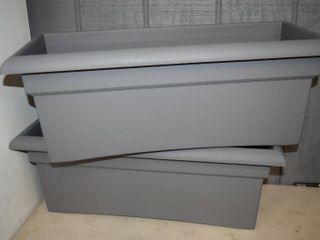 2 Veranda Charcoal Deck Box Planters 26  x 12  x 10