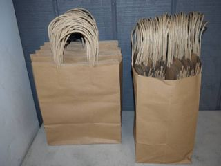 "100 Kraft Bags with Handles 10"" x 7"" x 12"""