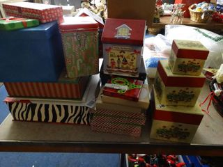 lot of Asst Christmas Decor Gift Boxes