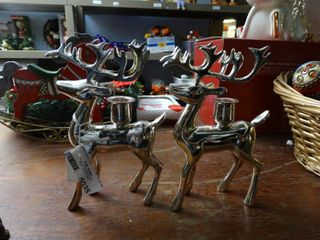 2 Silver Reindeer Candle Holders