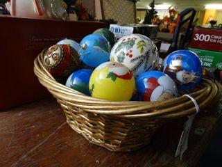 Basket of Glass Christmas Bulbs