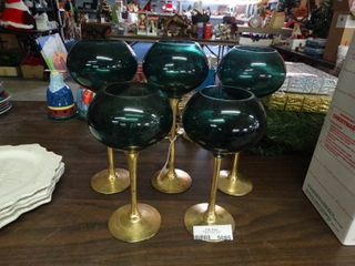 Green and Gold Goblet Candle Holders