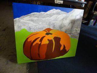 large Canvas Pumpkin Painting