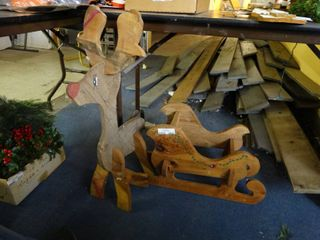 Wood Reindeer and Sleigh