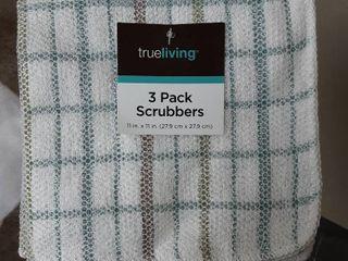 trueliving Scrubber Dish Cloths  3 pk   assorted