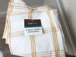 trueliving 5 Pack Waffle Dishcloths