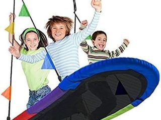 Sorbus Saucer Swing Surf a Kids Indoor Outdoor Giant Oval Platform Swing Mat a Great for Tree  Swing Set  Backyard  Playground  Playroom a Accessories Included a Multi Color Rainbow  Oval Surf Swing  MISSING ONE ROPE