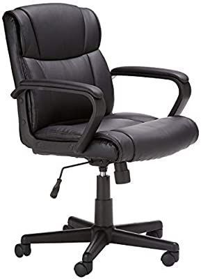 AmazonBasics leather Padded  Adjustable  Swivel Office Desk Chair with Armrest  Black