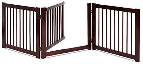 Giantex Configurable Dog Gate with Door  Freestanding Pet Gate for Small to Medium Sized Pets  Walk Through Wooden Pet Gate  Foldable 3 Panels for House Doorway Stairs  Pet Safety Fence