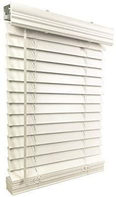 US Window And Floor 2  Faux Wood 55 5  W x 60  H  Inside Mount Cordless Blinds  55 5 x 60  White