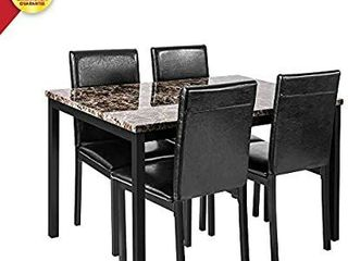 Faux Marble Dining Set for Small Spaces Kitchen 4 Table with Chairs Home Furniture  Black  CHAIRS ONlY
