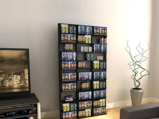 Atlantic 71 x40  Oskar 1080 Adjustable Shelf Wood Media Storage Wall Bookcase  1080 CDs  504 DVDs  576 BluRays