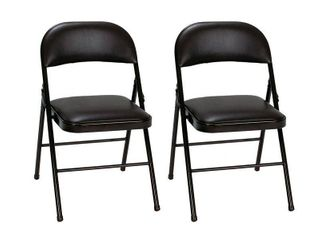 Cosco 2pk Vinyl Padded Folding Chair Black  1 CHAIR HAS CUT IN SEAT