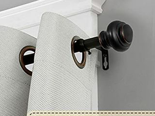 Window Treatment Single Curtain Rods Set  66 to 120 inch  3 4   Inch Diameter with Finials  Matte Black  Antique Bronze Finishing    MIGHT BE MISSING HARDWARE