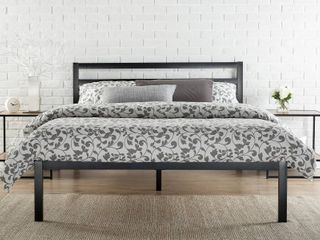 Modern Studio Platform 1500H Metal Bed Frame Mattress Foundation with Headboard  no Boxspring needed  Wooden Slat Support  King