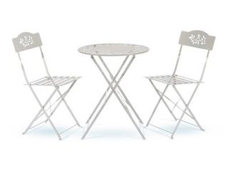 Alpine MSY100A WT Metal Bistro Set with 2 Chairs  White