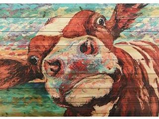 Empire Art Direct Curious Cow 3 Digital Print on Solid Wood Animal Wall Art  30  x 45  x 1 5  Ready to Hang
