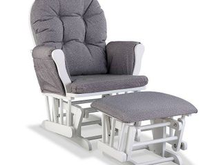 Storkcraft Swirl Hoop Glider and Ottoman White with Gray Swirl Cushions