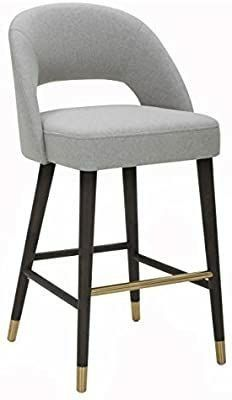 Amazon Brand   Rivet Whit Contemporary Upholstered Counter Height Stool with Gold Accents  37  H  Felt Gray