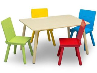 Delta Children Kids Table and Chair Set 3 Chairs Included  Natural Primary  MISSING RED CHAIR