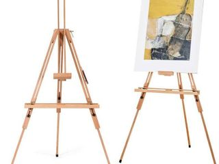 Tripod Easel  Height Adjustable large Beech Wood Painting Easel  Foldable and Tilting Design with Adjustable Tray  Floor Easel Stand for Painting  Sketching  Display