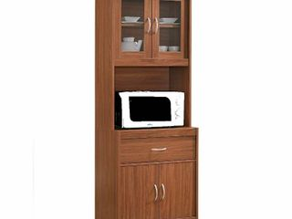 Hodedah Import 70  Tall Top Bottom Kitchen Cabinet with Drawer