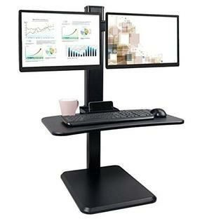 Hans Alice Dual Monitor Desk Converter  Adjustable Standing Desk Converter  Standing Desk Workstation with VESA Mount  Black